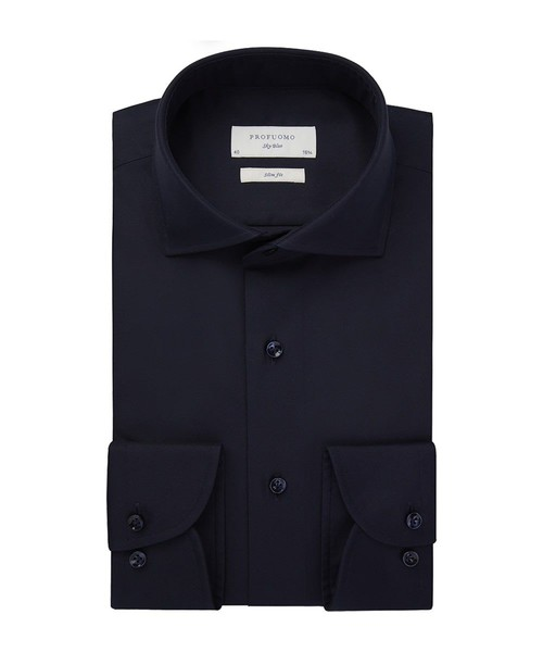 Profuomo Overhemd - Donkerblauw - Slim Fit - Royal Twill (1)